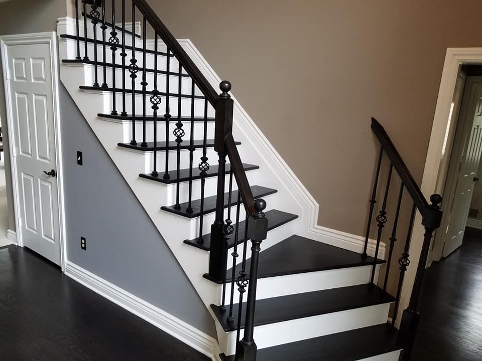 Stairs And Handrails Hardwood Floor Installation Ann Arbor   White Stairs With Wood Steps   Light Wood   White Riser   Outdoor   Dark   Traditional