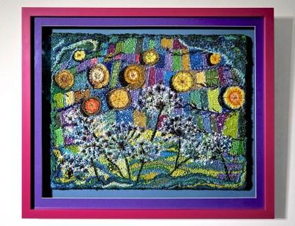Norfolk haystacks framed embroidery