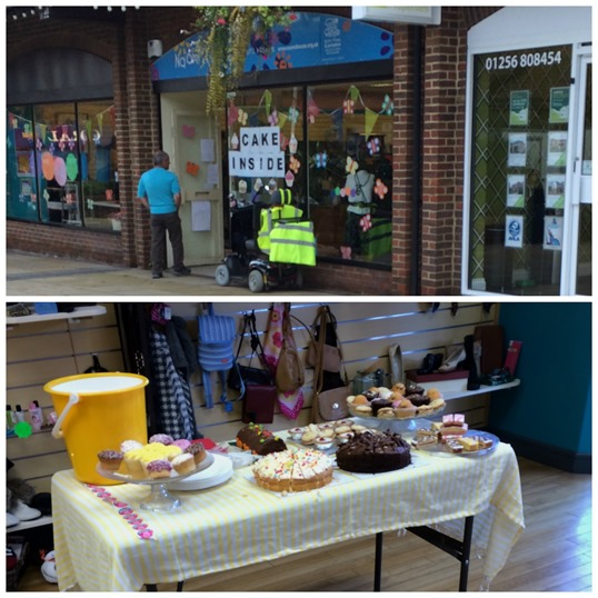 Charity shop selling cake