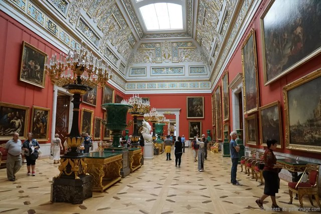 Inside one of the many exhibition rooms of the Hermitage Museum in St. Petersburg
