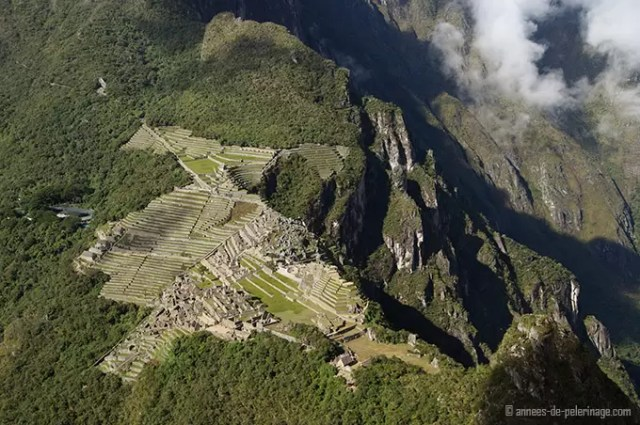 Machu Picchu altitude - the difference is clearly visible from above