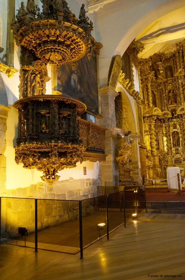 The wooden pulpit in the Iglesia de San blas - one of the finest examples of colonial wood work in the world