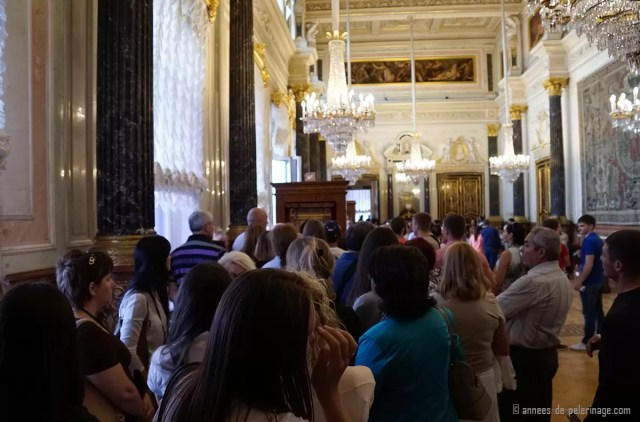 A crowd waiting to see the famous Da VIncie inside the Hermitage Museum, St. Petersburg