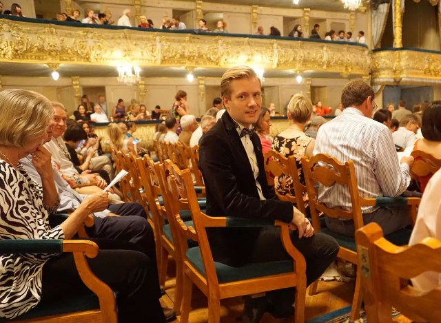 Me enjoing an opera performance in the Marinskii Theater in St. Petersburg russia