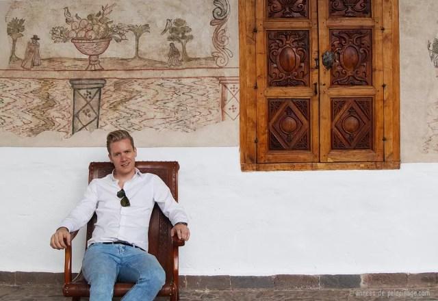 Me an ancient fresco at the Belmond Palacio Nazarenas boutique hotel in Cusco