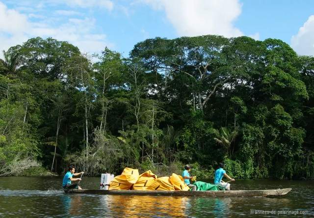 Packing light for a trip to the amazon river is not recommended. Here is my luggage on a canoe on its way to the hotel