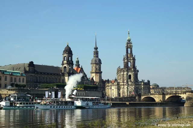 The City of Dresden, Germany, seen from the banks of the river Elbe