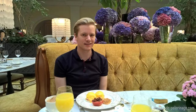 Me sitting at breakfast at the Four Seasons Hotel Lion Palace St.Petersburg, Russia