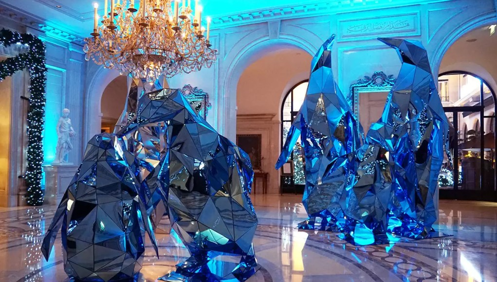 Christmas decorations made of mirrors inside the lobby of the Four Seasons Hotel George V in Paris