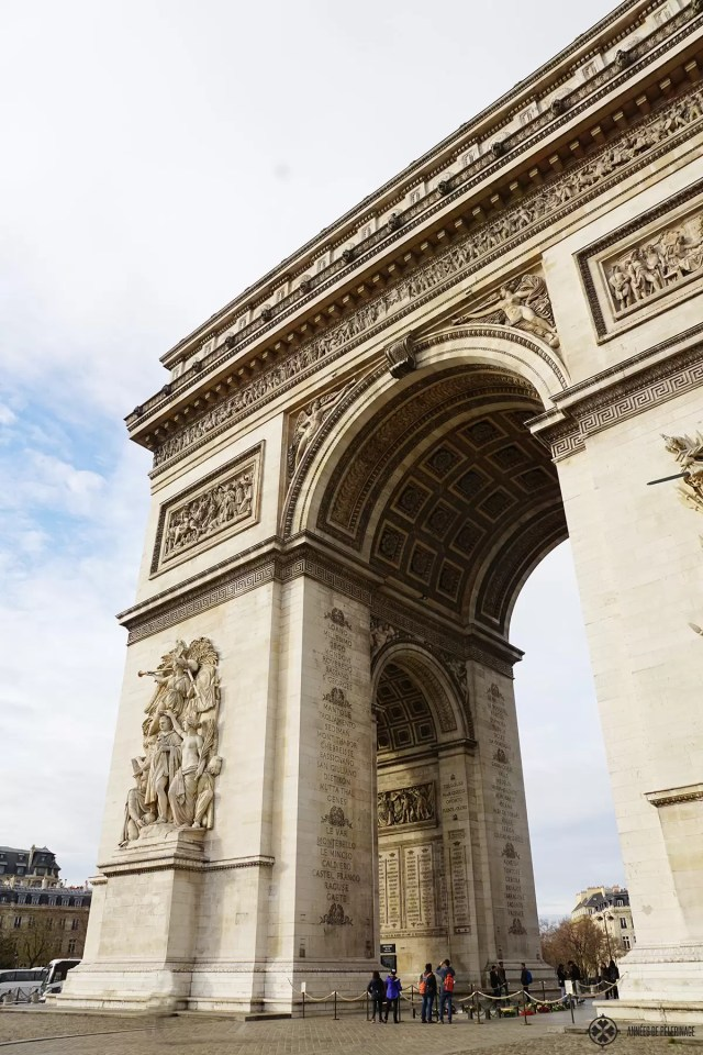 The Arc de Triomphe at the end of the Champs-Élysées in Paris