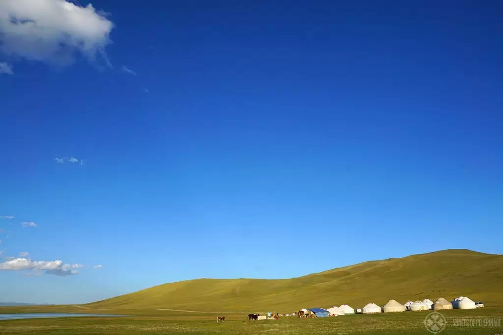 A traditional yurt camp in Kyrgyzstan near a mountain lake