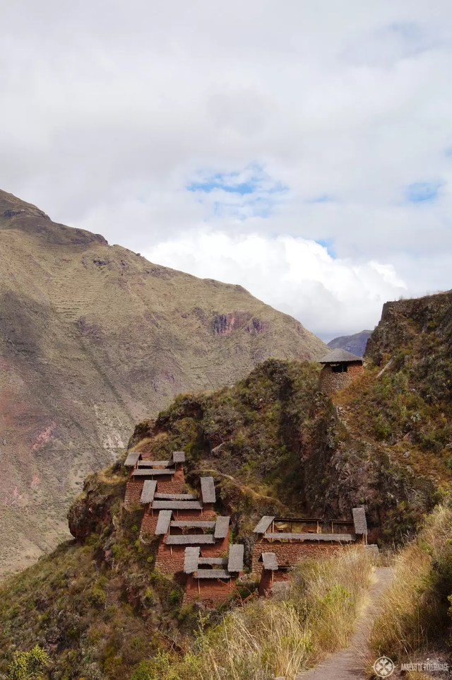 The grannaries of the famous Inca ruins in Pisac Peru. Few tourists come to this part of the sacred valley.