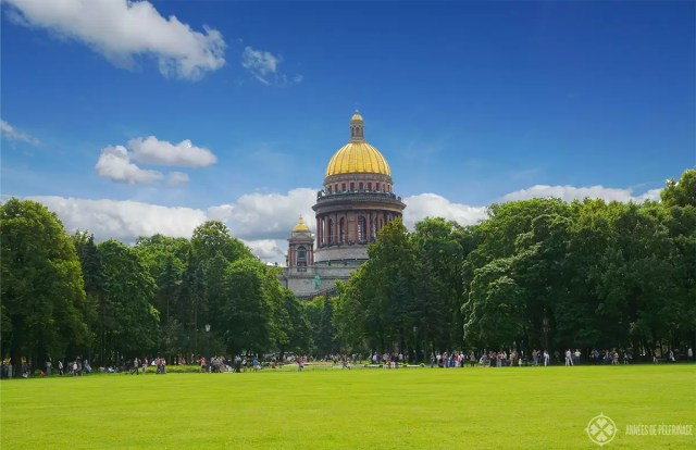 The park in front of the St. Isaac's cathedral in St. Petersburg, Russia