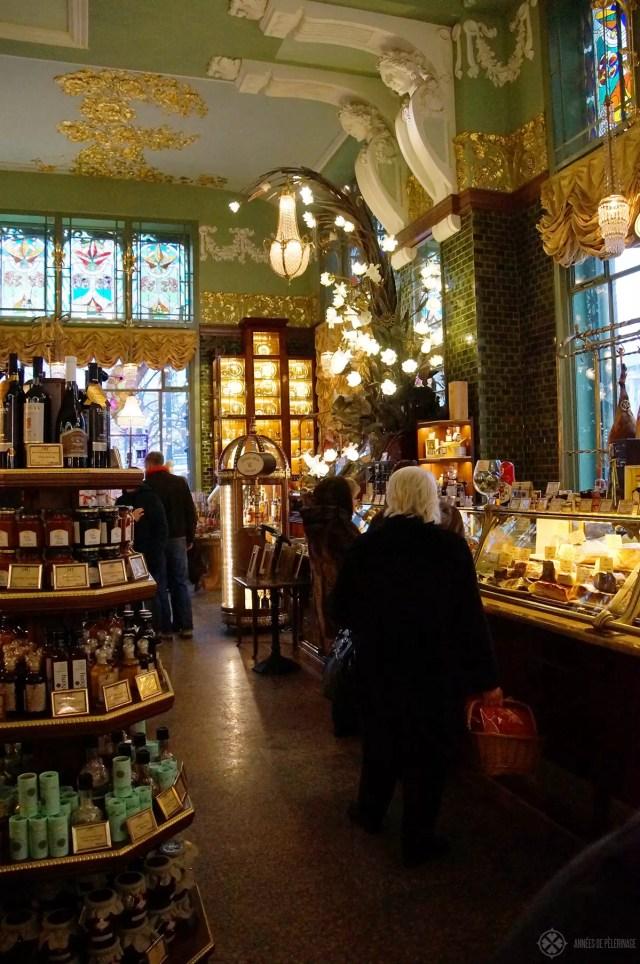 Inside the Yeliseev Emporium gourmet food store in St. Petersburg russia
