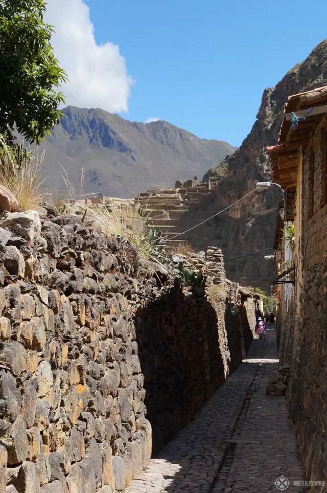 An ancient alley in Ollantaytambo, Peru