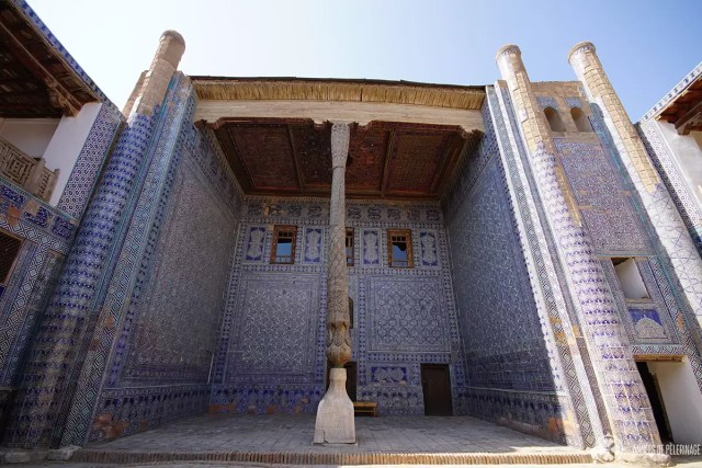A traditional porch in Khiva, Uzbekistan