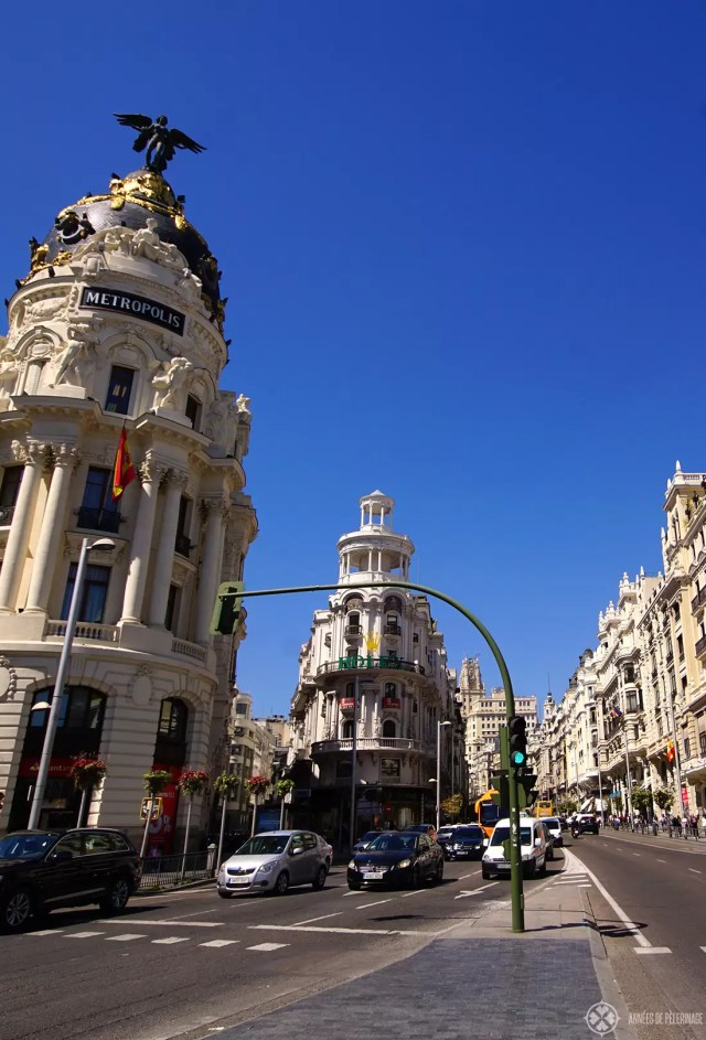 The Calle De Alcalcá in Madrid spain, where lots of important landmarks can be found