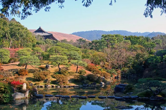 The magnificient gardens of the Isue-En in Nara, Japan