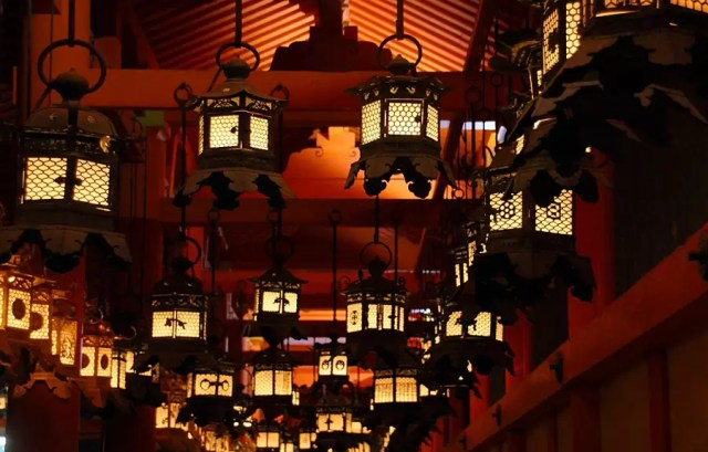The mantoro festival, when 3000 lanterns are lit in Kasuga-Taisha, in Nara, Japan