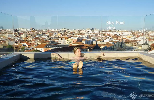 The fantastic rooftop pool at the Dear Hotel in Madrid, Spain