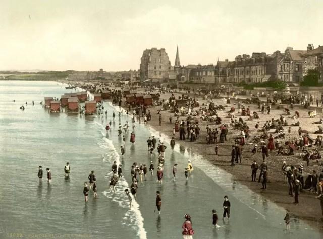 A historic postcard of Portobello beach