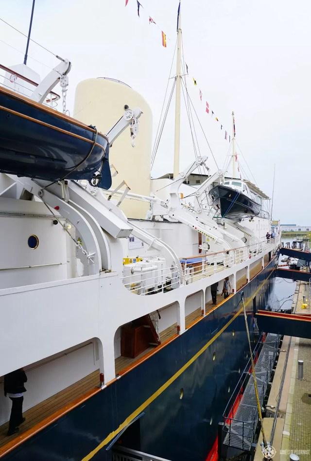 The Royal Yacht Britannia berthed in Leith near Edinburgh
