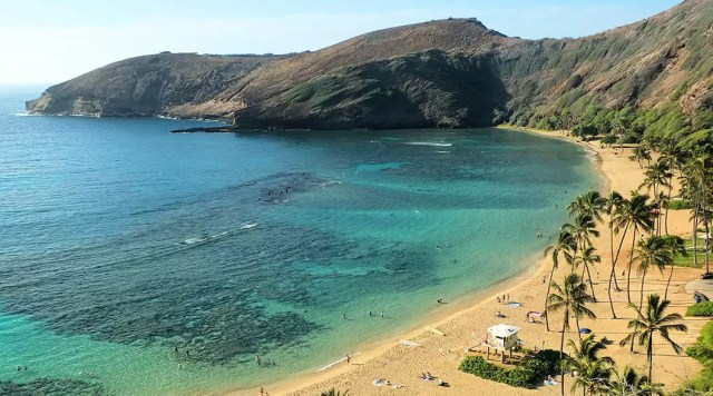 The beach at the Hanauma Bay Nature Preserve, Oahu as seen from above