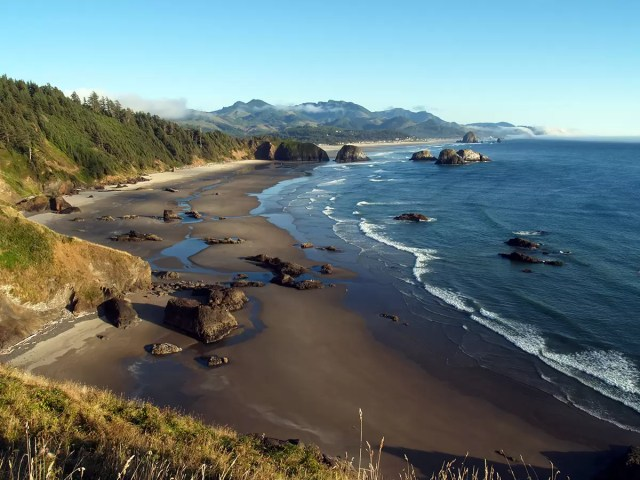 Cannon beach in Ecola State Park in Oregon - one of the best beaches in the U.S.