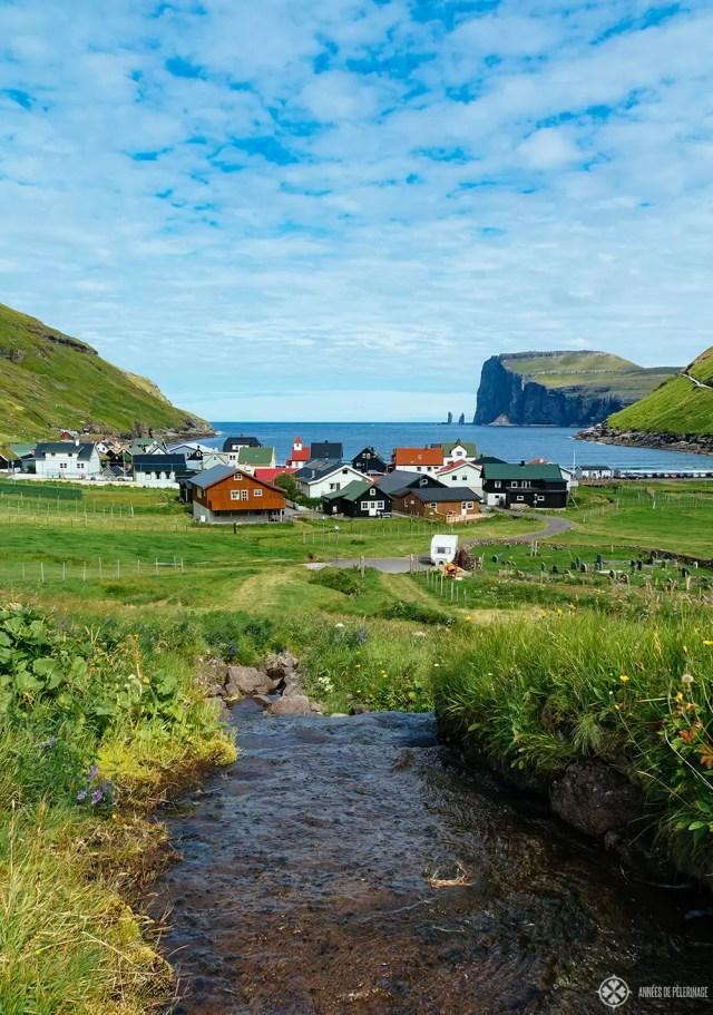 THe tiny Tjørnuvík village in the Faroe Islands