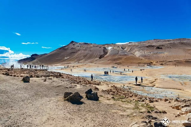 The Hverir Lake Myvatn's geothermal fields and a lot of people on the walk ways and viewing plattforms