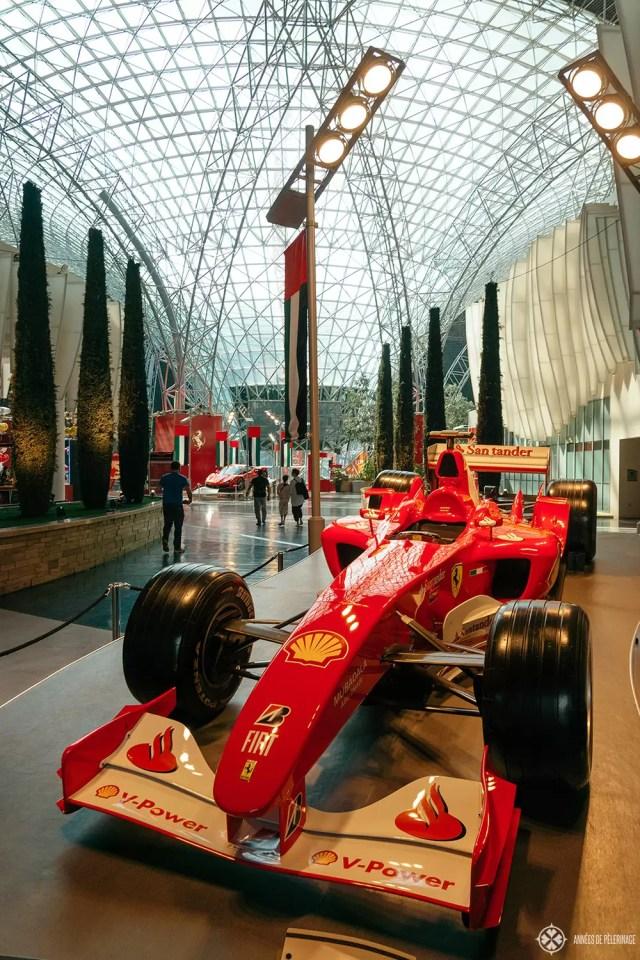 A Ferrari race car at the Ferrari World Abu Dhabi