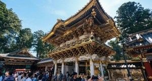 The renovated main gate of the toshogu shrine in nikko japan