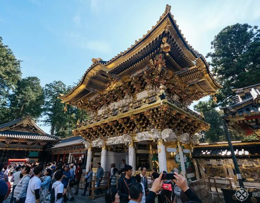 The renovated main gate of the toshogu shrine in nikko japan