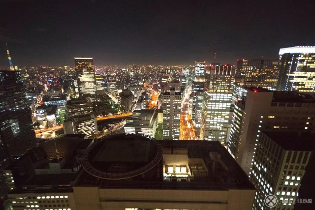 The view from the rooms of the Aman Tokyo luxury hotel at night