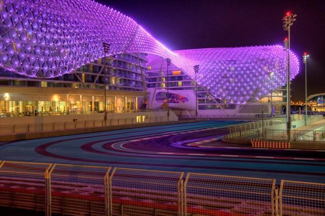 Yas Marina Circuit Abu Dhabi at night and the Yas Hotel