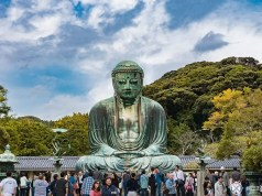 The great Buddha of Kamakura, goes by the japanese name Daibutsu, and is one of the top points of interests in Kamakura