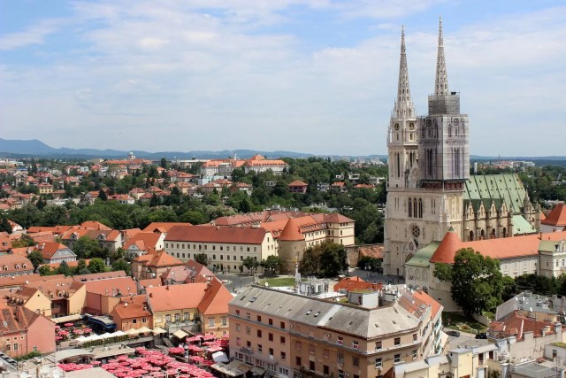 The cathedral and the central square in Zagreb, Crotia