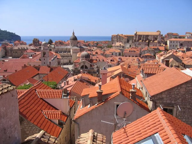 Red brick houses in the old town of dubrovnik