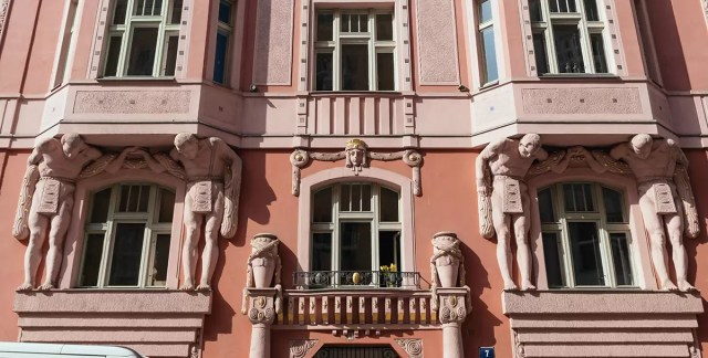 A beautiful Art Nouveau facade in the Jewish Quarter of Prague
