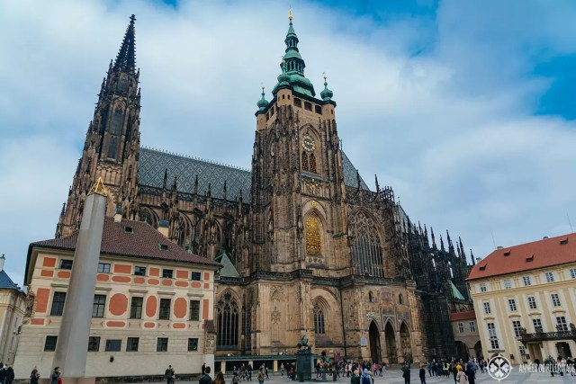 St. Vitus Cathedral inside Prague Castle as seen from outside