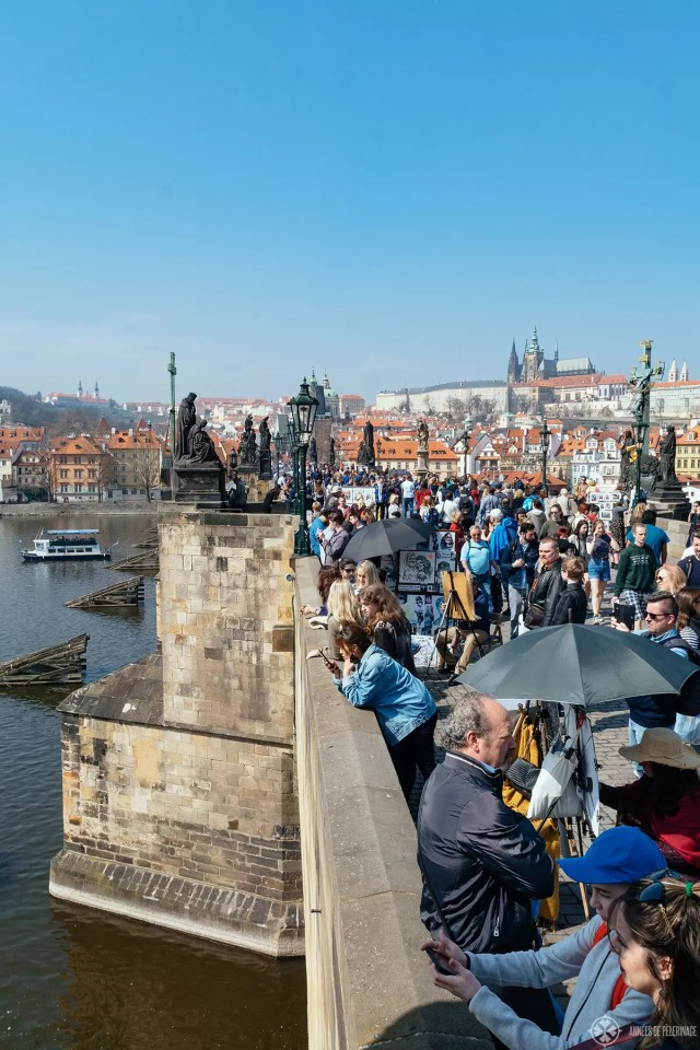 tourist hordes on the Charles Bridge - one of the many things to do in Prague
