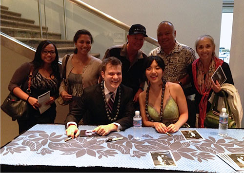Anderson and Roe with piano students of UH Maui College, November 2013