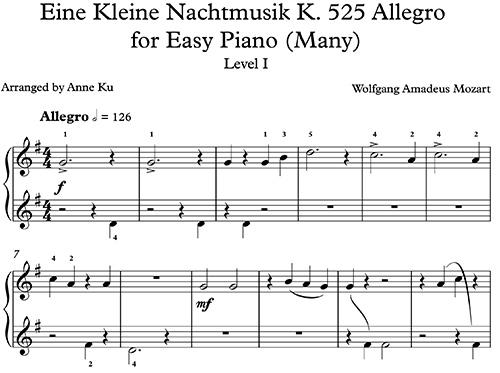 Eine Kleine Nacht Musik for Easy Piano – Concert Blog