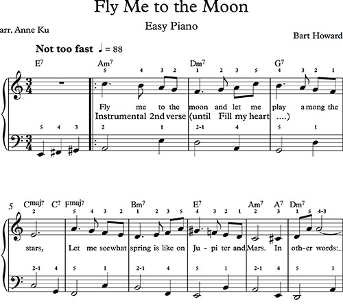 Besame Mucho Lyrics Sheet Music: Fly Me To The Moon Frank Sinatra Ukulele Tab Ukulele Tabs In