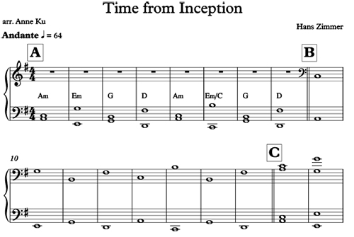 Time from Inception arranged by Anne Ku for easy piano and ensemble