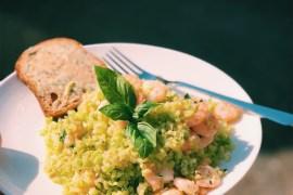 Broccolirijst met gamba's