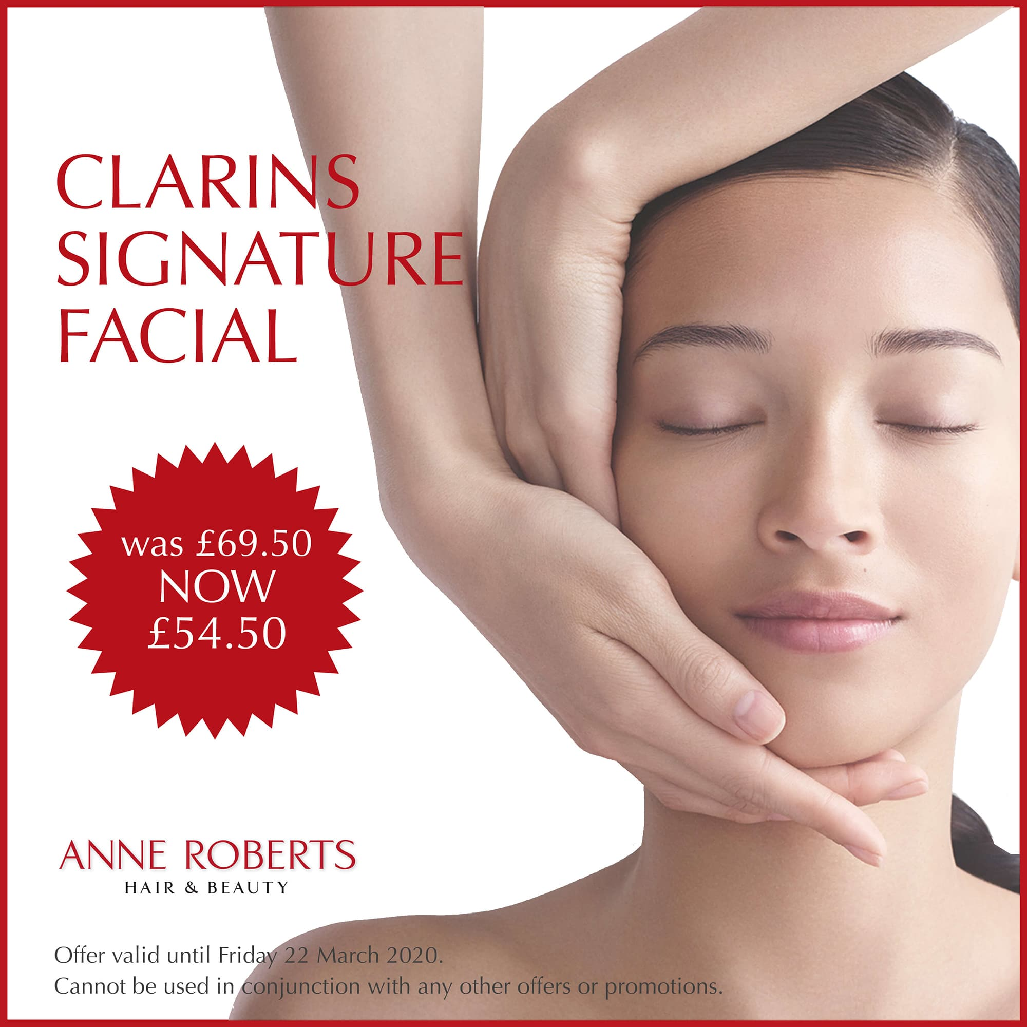 image of lady recieving face massage with details of an offer