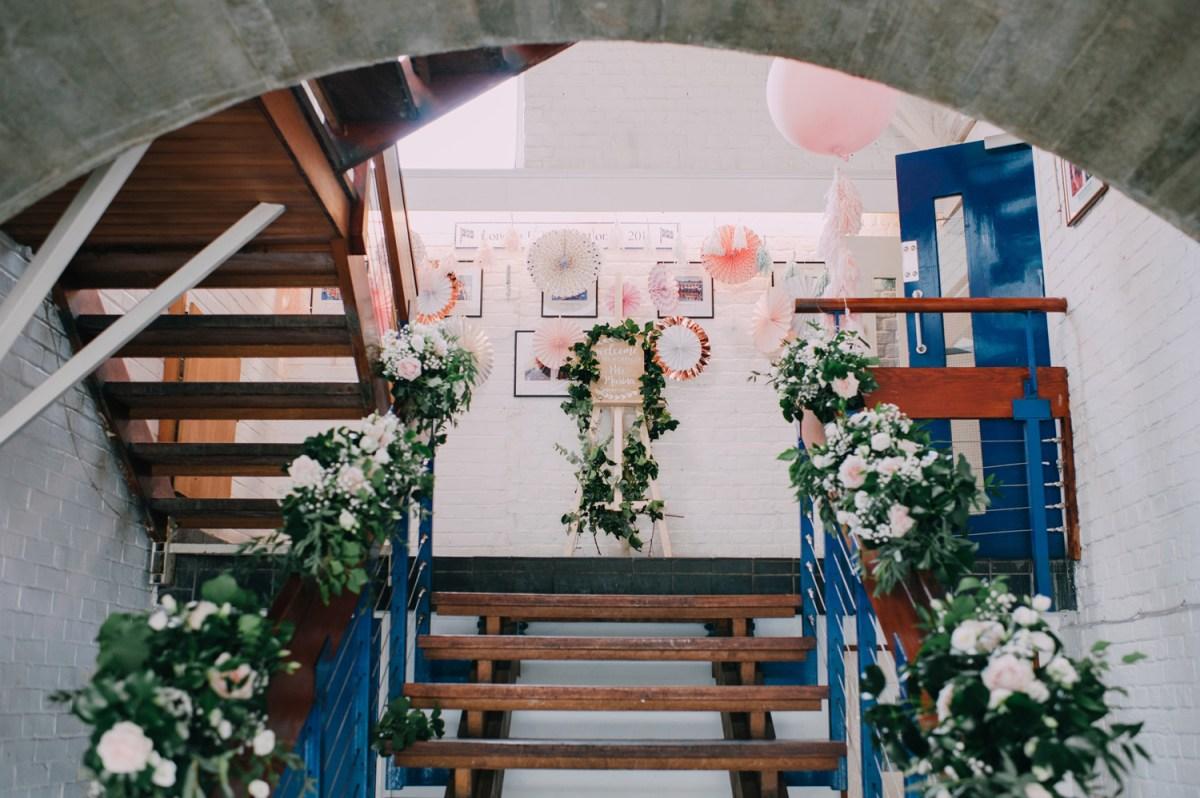 boho decorations london rowing club wedding entrance