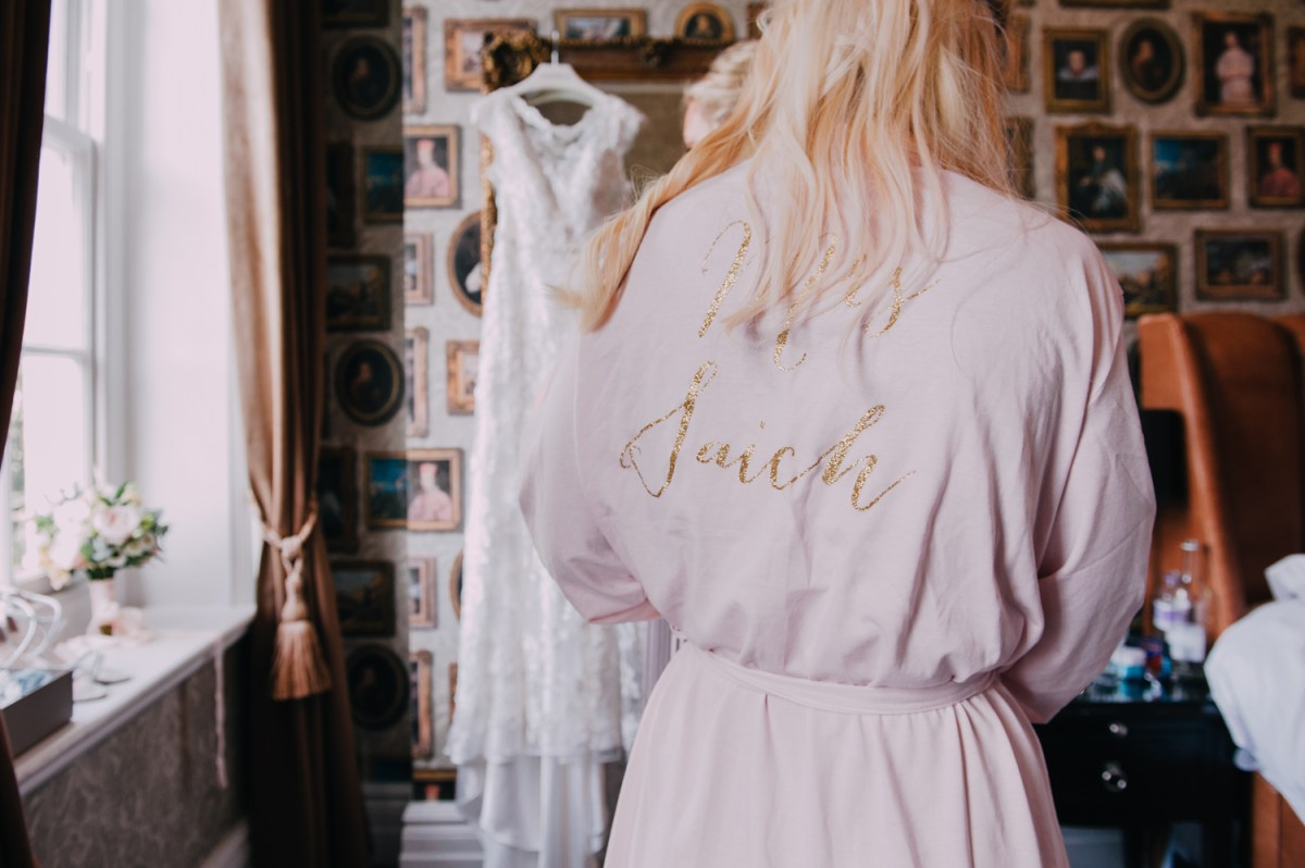 pastel gold glitter letters bridesmaid robe
