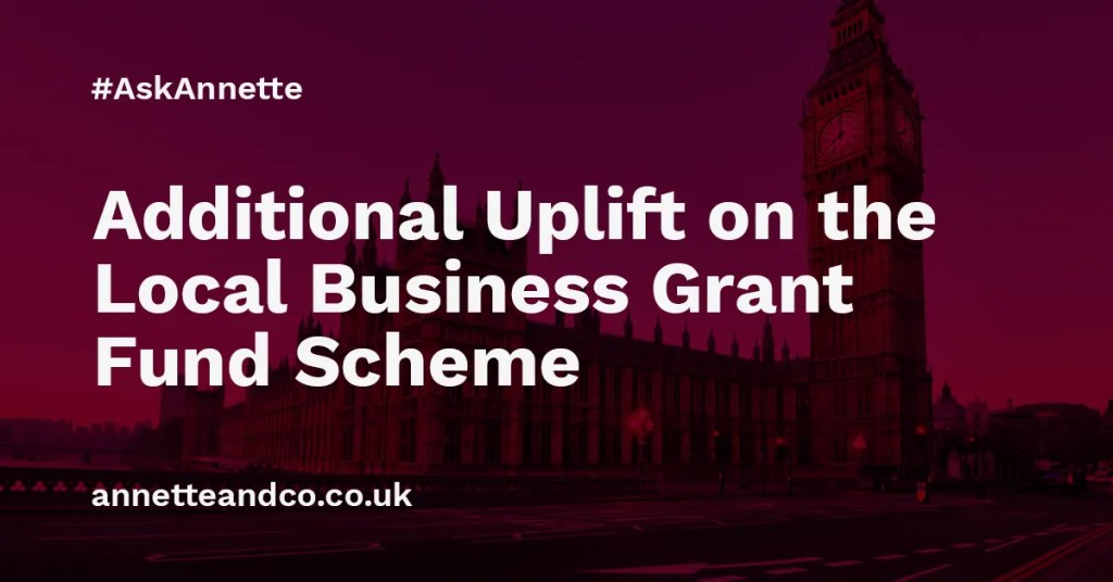 a blog post image highlighting the topic on additional uplift on the local business grant fund scheme